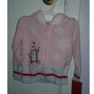 New Girl's Pink Sweater Penguin Size 12 Months